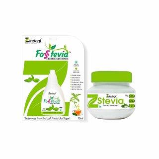 Zindagi Stevia Fosstevia Liquid And Stevia Powder - Sugarfree Stevia Liquid For Weight Lose (Combo Pack)