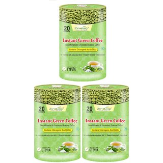 Zindagi Instant Green Coffee Powder - Sugarfree Green Coffee Beans Powder - Coffee Beans For Weight Lose (Pack Of 3)