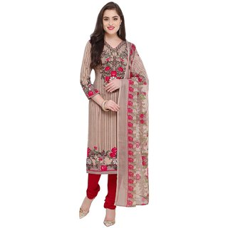 Swaron Beige and Red Crepe Printed Unstitched Dress Material