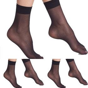 Nxt 2 Skin - Ladies Transparent Socks, Sheer Ankle Stockings for Women - Black and Skin (Pack of 3)