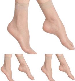 Nxt 2 Skin - Ladies Transparent Socks, Sheer Ankle Stockings for Women - Skin (Pack of 3)