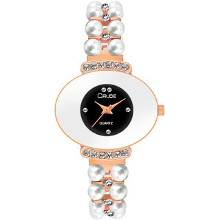 a6ec87b32 Buy Crude rg2051 black dial rose gold chain watch for women and ...