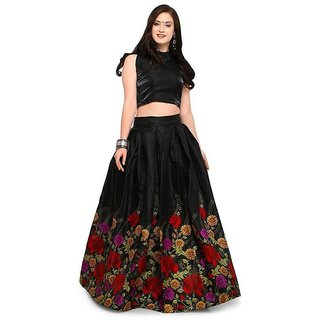 eb4e8a7cee1 Buy Rise on Fab Black Color Banglory satin multy flower Printed Lehengha (BLACK  PRINTED) Online - Get 58% Off