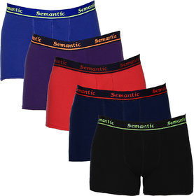 100% Cotton Brief - Combo of 5 Underwear Available in Black, Navy Blue, Red, Royal Blue & Purple Colors in Size L (Large) with Regular Rise & Elastic Waistband  - Set of 5 Waist