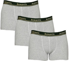 100% Cotton Brief - Combo of 3 Underwear Available in Grey Melange Colors in Size L (Large) with Regular Rise & Elastic Waistband  - Set of 3 Waist