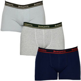 100% Cotton Brief - Combo of 3 Underwear Available in Navy Blue, Grey Melange & Grey Colors in Size L (Large) with Regular Rise & Elastic Waistband  - Set of 3 Waist