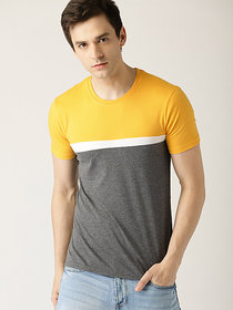 Stylogue Men's Self Design Yellow Round Neck T-shirt