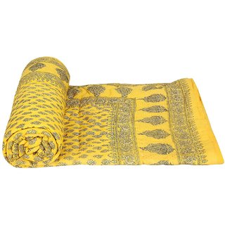BEST OF RAJASTHAAN Single Bed Floral Pure Cotton Ultra Soft  Warm Jaipuri Single Bed Quilt / Razai / - Diwali offer