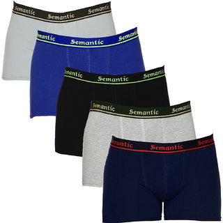 100% Cotton Brief - Combo of 5 Underwear Available in Black, Navy Blue, Royal Blue, Grey & Grey Melange Colors in Size L (Large) with Regular Rise & Elastic Waistband  - Set of 5 Waist