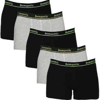 100% Cotton Brief - Combo of 5 Underwear Available in Black & Grey Melange Colors in Size L (Large) with Regular Rise & Elastic Waistband  - Set of 5 Waist