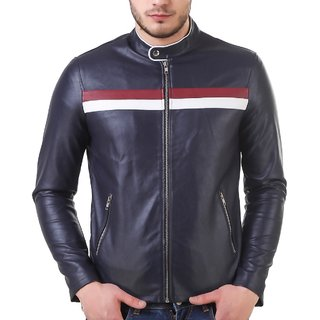 Leather Retail Blue Faux Leather Jacket For Men