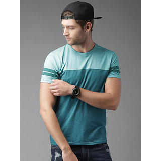 Stylogue Blue Self Design Cotton Blend Round Neck T-shirt For Men