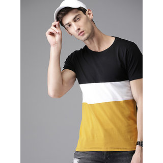 Stylogue Men's Self Design Multicolor Round Neck T-shirt