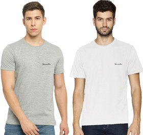 Pack of 2 - 100% Cotton - Mens Plain T Shirt for Daily Use in White & Grey Melange Color - Round Neck & Half Slevees in Size S (Small) by Semantic