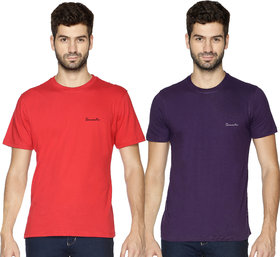 Pack of 2 - 100% Cotton - Mens Plain T Shirt for Daily Use in Red & Purple Color - Round Neck & Half Slevees in Size S (Small) by Semantic