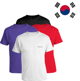 Pack of 4 - 100% Cotton - Mens Plain T Shirt for Daily Use in Black, White, Blue & Red Color - Round Neck & Half Slevees in Size S (Small) by Semantic