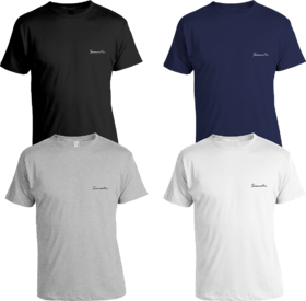 Pack of 4 - 100% Cotton - Mens Plain T Shirt for Daily Use in Black, White, Grey & Navy Blue Color - Round Neck & Half Slevees in Size S (Small) by Semantic