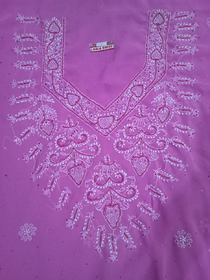 Embroidered Purple Georgette Unstitched Dress Material (Pearl Embroidery)