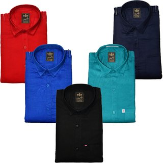 Freaky Mens Plain Casual Slimfit linen Full Sleeves Shirts Pack Of 5