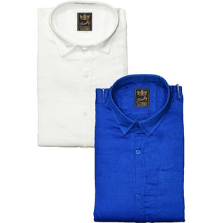 Freaky Mens Plain White Blue Casual Slimfit linen Shirts