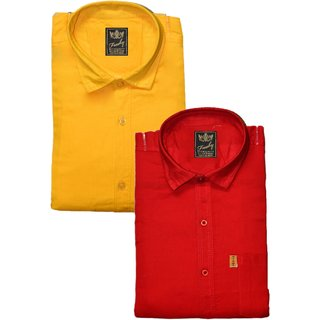 Freaky Mens Plain Yellow Red Casual Slimfit linen Shirts