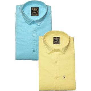 Freaky Mens Plain Sky Lemon Casual Slimfit linen Shirts