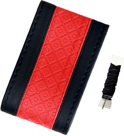 Fantasy AA-004, Black Red P.U. Leatherlite easy and flexible grip stichable Car Wheel Steering Cover