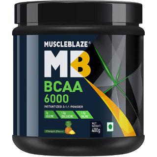 MuscleBlaze BCAA 6000 amino acid powder - 0.88 lb/400g 50 Servings (Pineapple)