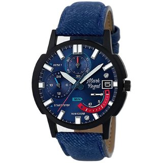 Unique Shopping Round Analog Quartz Blue Leather Party Wear Watch For Men
