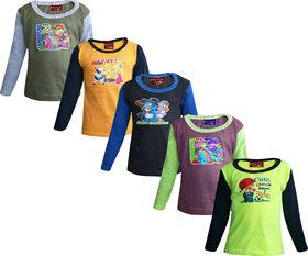 Jisha Fashion Multicolor Full Sleeves T-Shirts For Boys - Pack Of 5