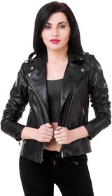 Leather Retail Black Faux Leather Full Sleeves Biker/Leather Jackets For Women