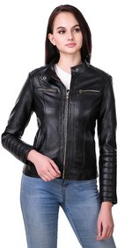 Leather Retail Black Faux leather Jacket For Woman
