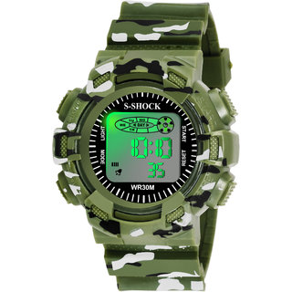 Grandson Green Miltary Digital Watch For Boys And Girls