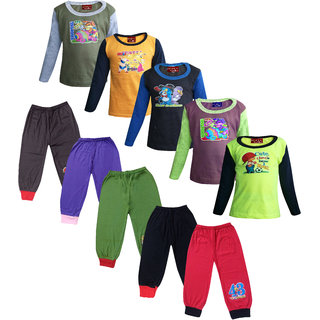 Jisha Fashion Multicolor Full Sleeves T-Shirts  Plain Track Pants For Boys - Set Of 5