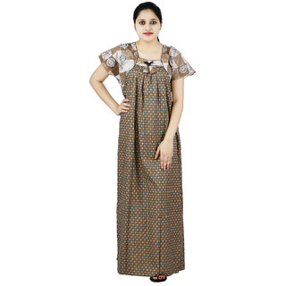 d02f023ea4 Green & Brown colour Floral Design Printed Square Neck Cotton Nighty For  Ladies Nightwear Full Length Women Night Gown Short Sleeves (Free Size)
