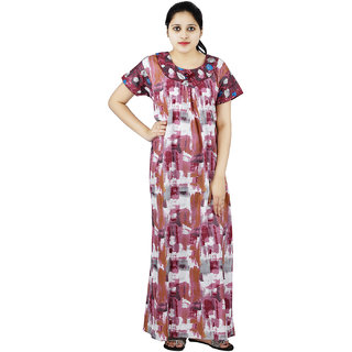 Pink   White colour Abstract Design Printed Round Neck Cotton Nighty For Ladies  Nightwear Full Length Women Night Gown Short Sleeves (Free Size) 399c5ea54