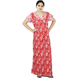 Buy Red   White colour Abstract Design Printed Round Neck Cotton Nighty For Ladies  Nightwear Full Length Women Night Gown Short Sleeves (Free Size) Online ... 5580e07e1