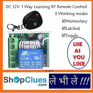 E103 Programmable Multiuse DC 12V Volt 1 Way Channels RF Learning Remote Switch