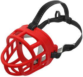 Futaba Silicone Basket Anti-Bite Muzzle For Dogs - Red - Extra Large ( Size 6 )