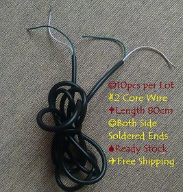 10pcs of 80cm long 2 Core Wire with both side Soldered Ends for DIY Projects