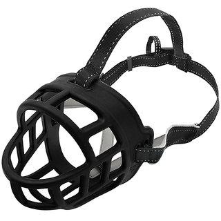 Futaba Silicone Basket Anti-Bite Muzzle For Dogs - Black - Medium ( Size 4 )
