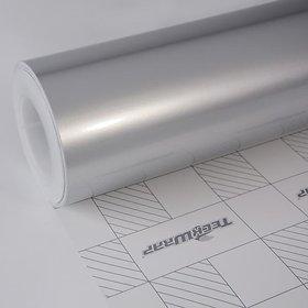 Universal 12x24 Silver Metallic Glossy Vinyl Car Wrap Sheet Roll Film Sticker Decal For Car  Bike Both