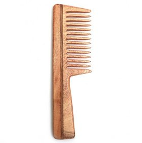 RKD Wide Tooth Neem Wood Detangler Comb With Handle (7.5 INCH)