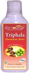 Zindagi Triphala Juice - Natural Extract Of Harad, Amla And Bheda - Sugarfree Energy Drink 500ml