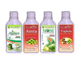 Zindagi Triphala Juice, Amla Juice, Aloevera Juice -  Sugrafree Health Drink - Natural Vitamin And Minerals (Combo Pack)