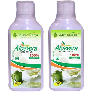 Zindagi Aloevera Juice - Sugarfree Aloevera Health Drink - Natural Multivitamins And Minerals (Pack Of 2)
