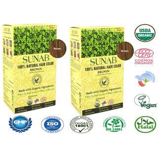 Sunab 100% Natural Brown Hair Color (100 g)-Set Of 2