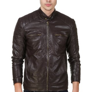 Leather Retail Wood Color Faux Leather Biker Jacket For Man