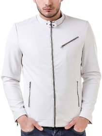 LeatherRetail White Spanish Faux Leather Jacket For Man