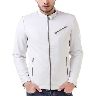 LeatherRetail White Spanish Faux Leather Jacket For Man